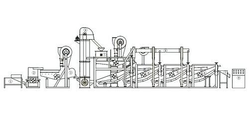 Схема линии для шелушения семечек горизонтального типа